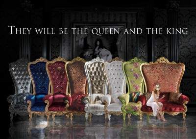 THE THRONES <br/> from left:  <br/> B/110/3 - Throne - cm 98x95x195h <br/> B/110/7 - Throne - cm 98x95x195h <br/> B/110/5 - Throne - cm 98x95x195h <br/> B/110/2 - Throne - cm 98x95x195h <br/> B/110/1 - Throne - cm 98x95x195h <br/> B/110/6 - Throne - cm 98x95x195h <br/> B/110/13 - Throne - cm 98x95x195h <br/> B/120/1 - Throne - cm 162x95x195h